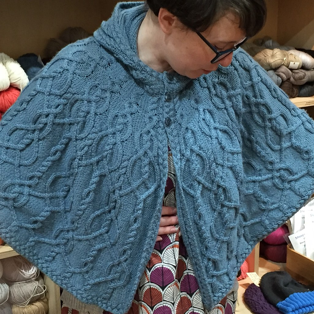 wearing my 'kallan' cape, knitted in bendigo woollen mills 8ply luxury in a pale blue colour