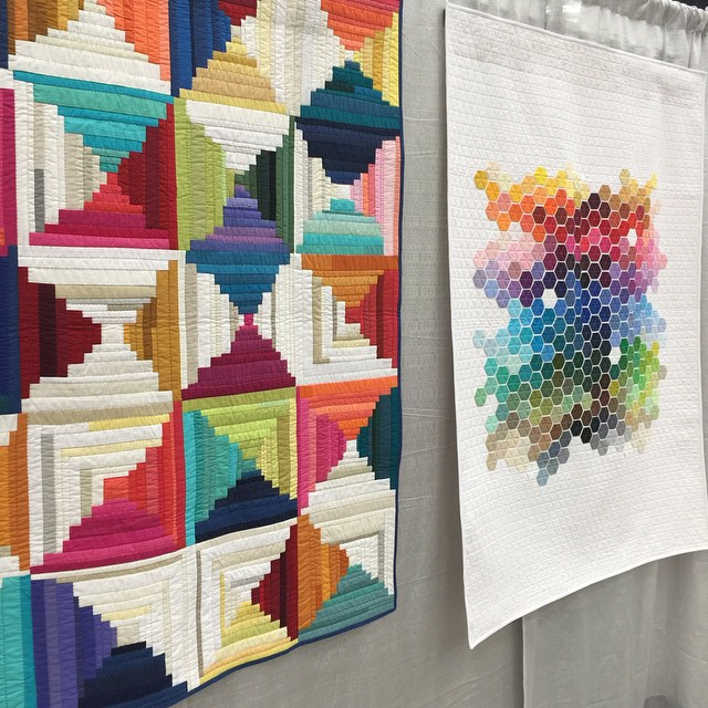Modern log cabin and hexagon quilts using solid fabric. I ...