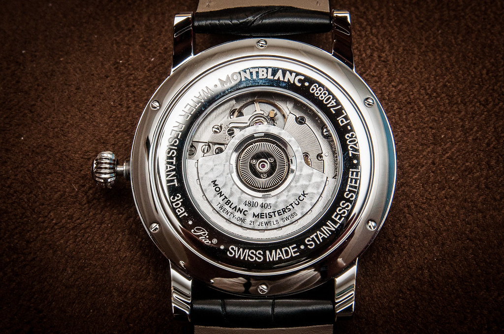 montblanc star world time swiss automatic watch caseback
