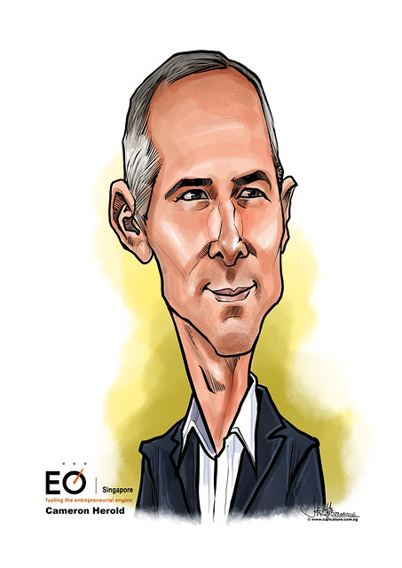 digital Cameron Herold caricature for EO Singapore