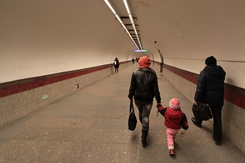 Transfer corridor on the Saint Petersburg Metro