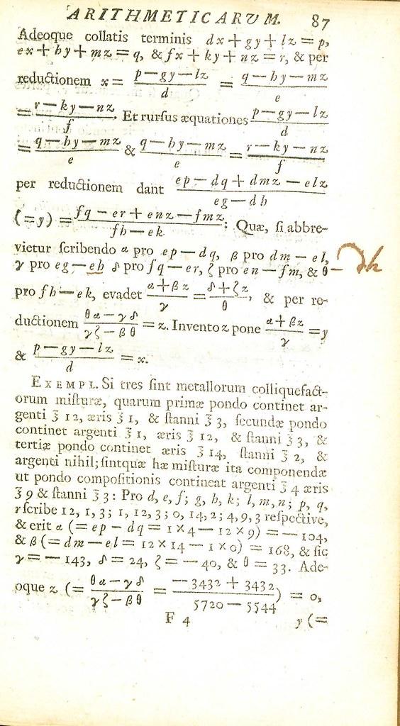Arithmetica universalis, 1722 (Equations)