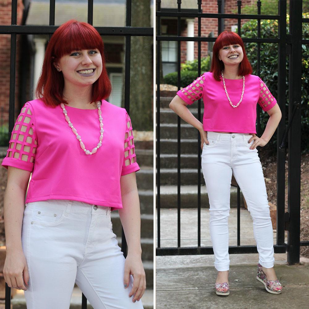 Bright Pink Cropped Tobi Shirt White Skinny Boohoo Denim Floral Peeptoe Wedges