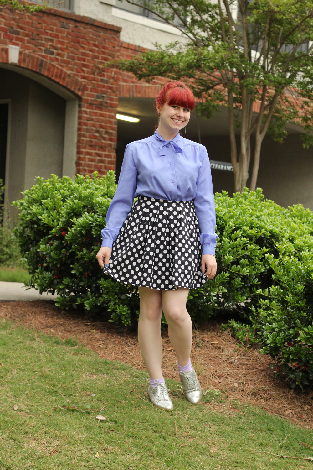 Navy Polka Dot Skirt, Light Purple 70s Blouse, and Silver Brogues