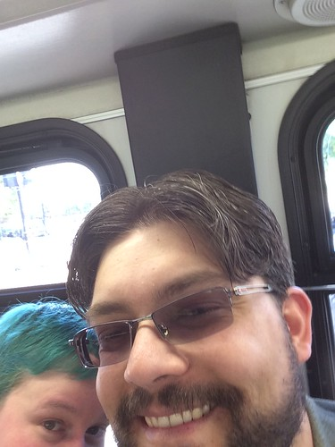 An attempt at a selfie with Bill. He looks good. I am mostly not in the photo.