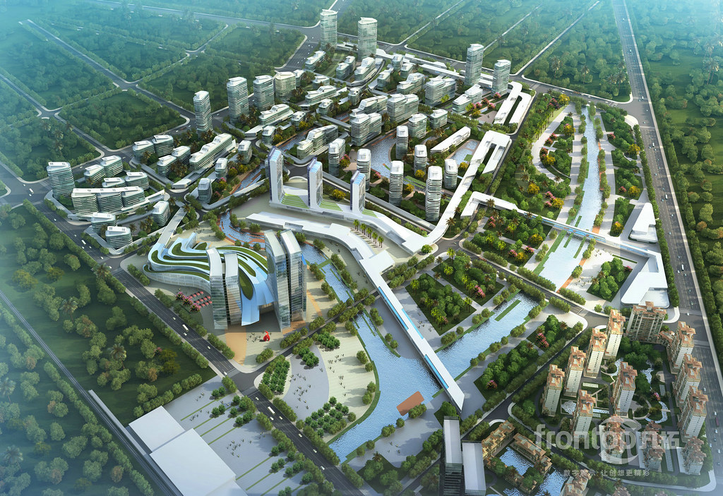 aerial view, architectural rendering   City Building