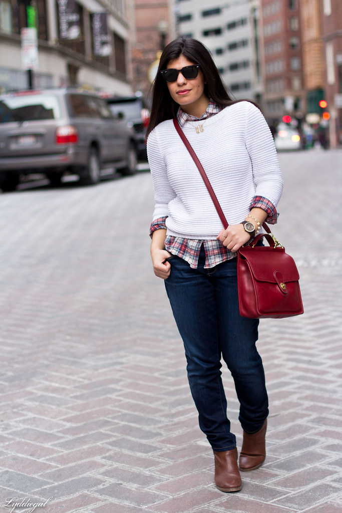 white sweater, plaid shirt, red coach bag-3.jpg