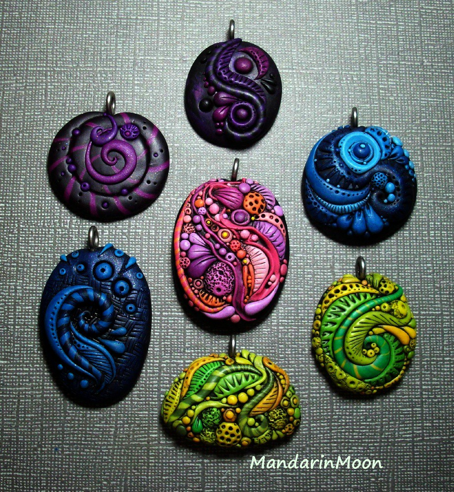 Polymer clay pendant asst feb 2014 just finished this grou flickr mozeypictures Gallery