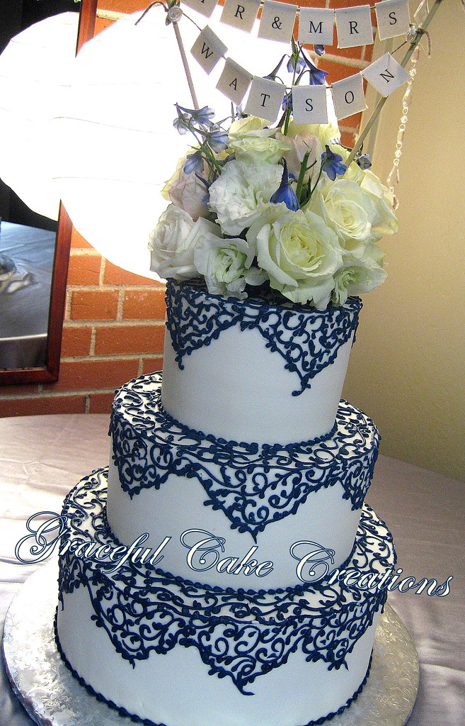 wedding cake navy blue and white ivory wedding cake with navy blue lace grace 23304