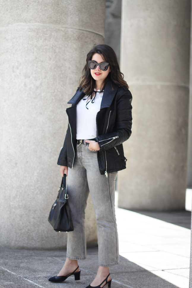 chanel slingback black heels ladie in levis 501 grey cropped with celine sunglasses and piper furla streetstyle myblueberrynightsblog