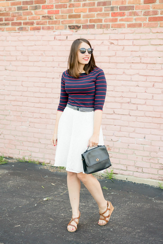 white eyelet skirt + navy and red stripe tee + wedge sandals; patriotic work outfit | Style On Target