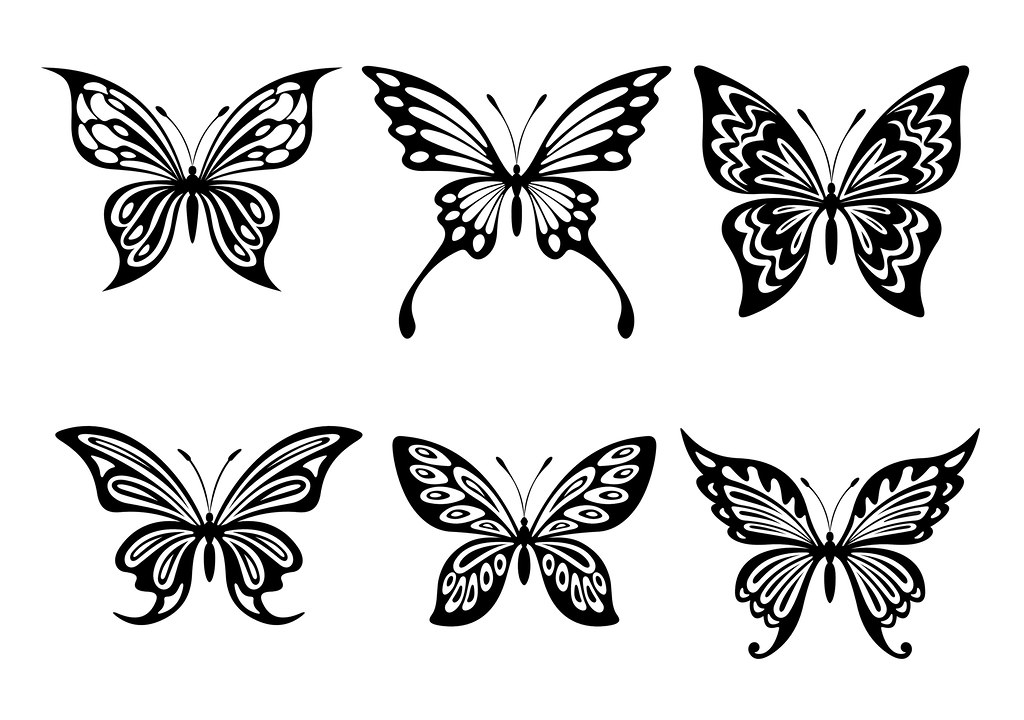 sample LARGE free Butterfly silhouette - in black | This