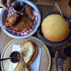 Delicious fried chicken, grilled cheese and spoonbread at The Eagle earlier today. #onthetable #thisisotr