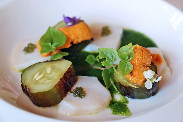 Scallops with grilled cucumber, and sea urchin
