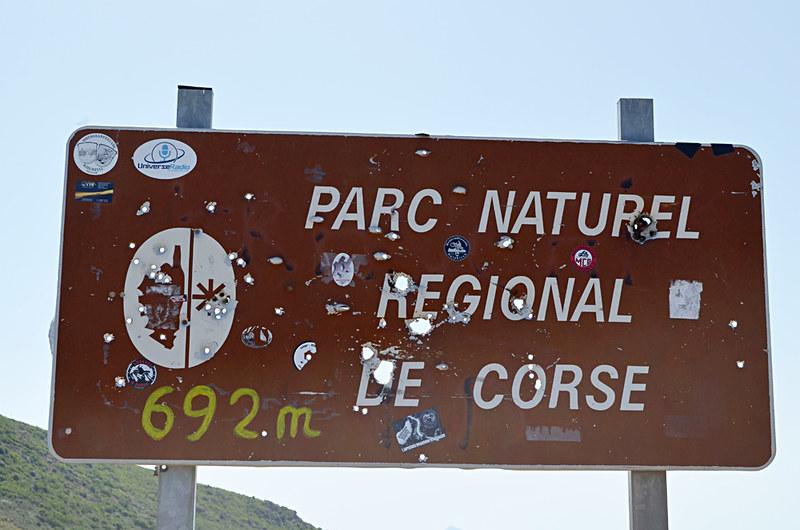 Shot road sign, Corsica