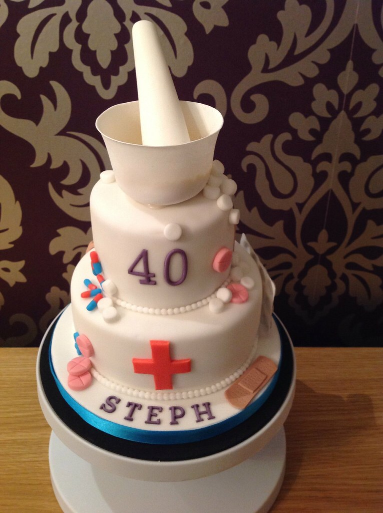 Cake Decorating Medical Theme : pharmacy themed cake A vanilla sponge 6 and 4