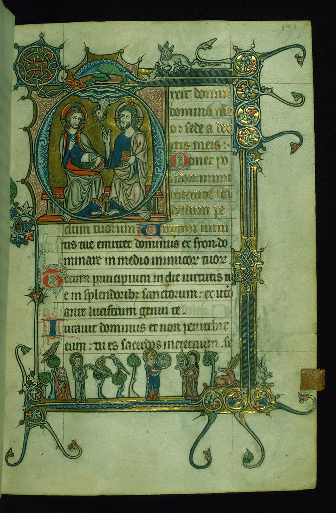 "Fieschi Psalter, Initial ""D"" with the Trinity; SS. Francis… 