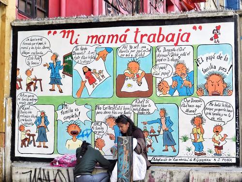 Painted comic strip in La Paz