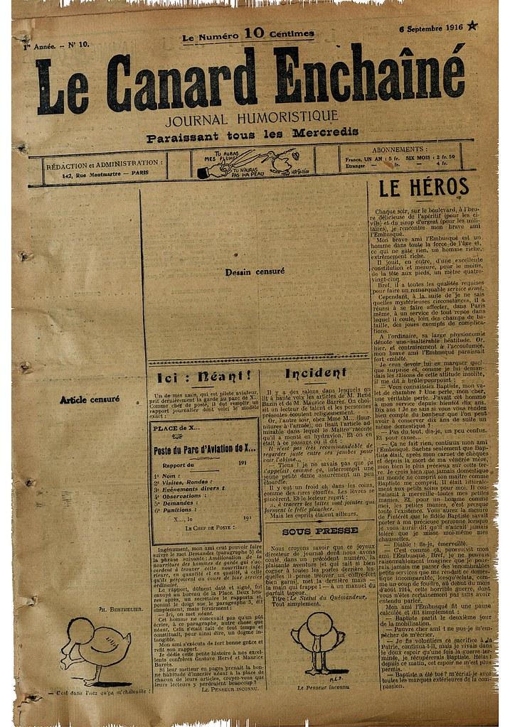 Le Canard Encha 238 N 233 6 Septembre 1916 Coll Bdic Source