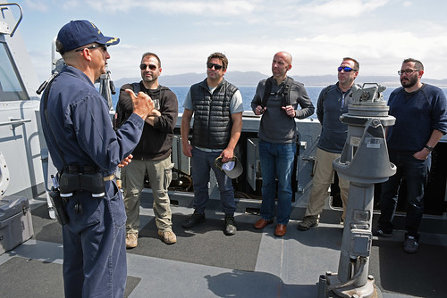 "USS SAN DIEGO, At Sea - A group of five leaders in business and industry from the Southern California area arrived aboard the amphibious transport dock ship USS San Diego (LPD 22) via helicopter as part of the ""Leaders to Sea"" program, May 20."