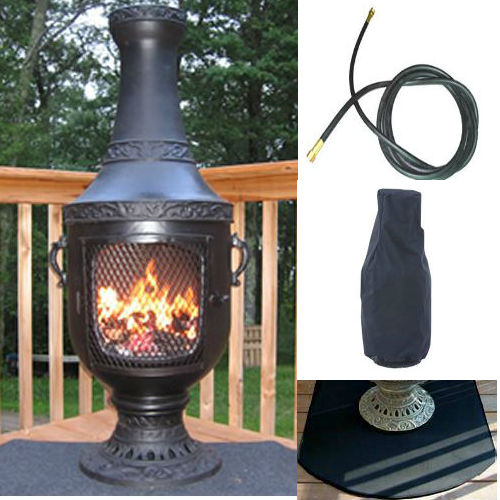 QBC Bundled Blue Rooster Venetian Chiminea with Propane Gas Kit, Half Round Flexbile Fire Resistent Chiminea Pads, 20 ft Gas line, and Free Cov Charcoal Color - Plus Free QBC Metal Chiminea Guide