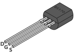 Addicore BS170 TO-92 MOSFET Pinout