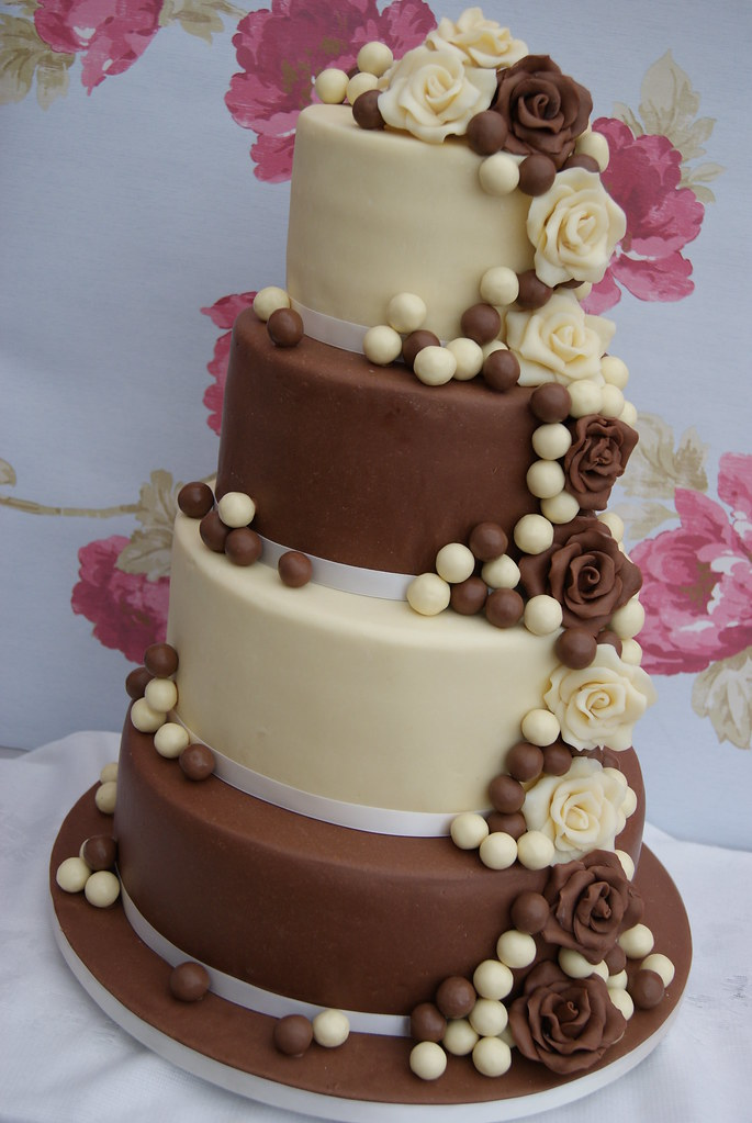 chocolate wedding cakes pictures four tier chocolate wedding cake cascading roses and 12795