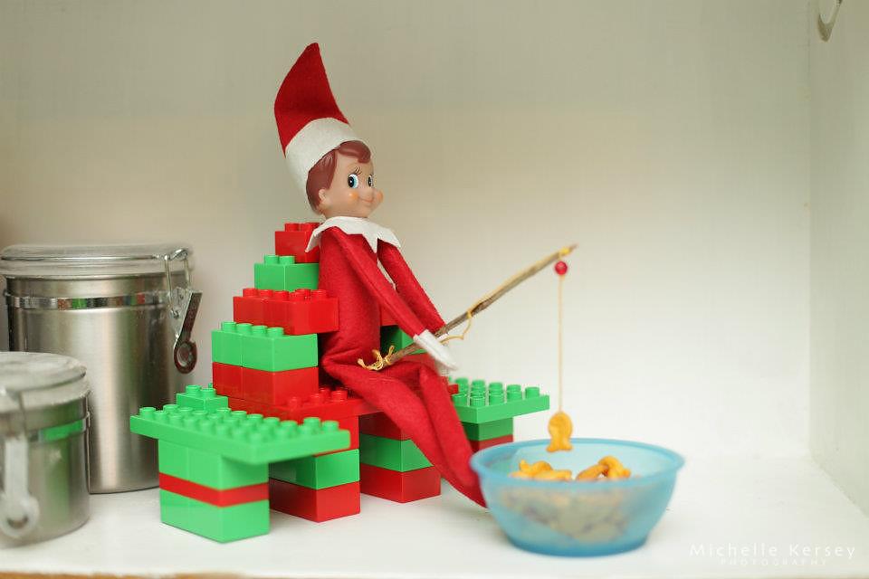 Elf on a shelf goldfish fishing elf on a shelf ideas for Elf on the shelf fishing