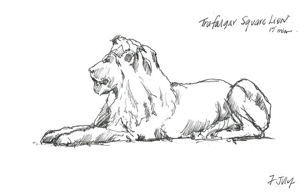 Trafalgar Square Lions Drawing Trafalgar Square Lions