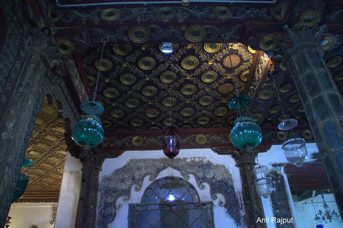 Gold plated ceiling design and colored hanging lamps , Aaina Mahal Bhuj
