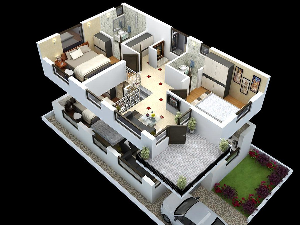 Cut model of duplex house plan interior design cut for Duplex house interior designs photos