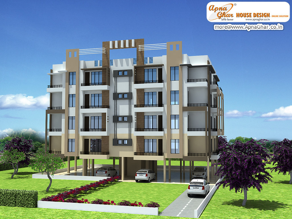 3d exterior view of an apartment design 3d exterior view for Apartment design exterior