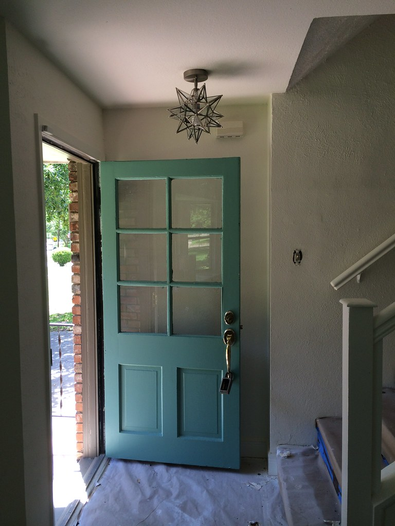 Teal front door with moravian star pendant blogged on for Teal front door
