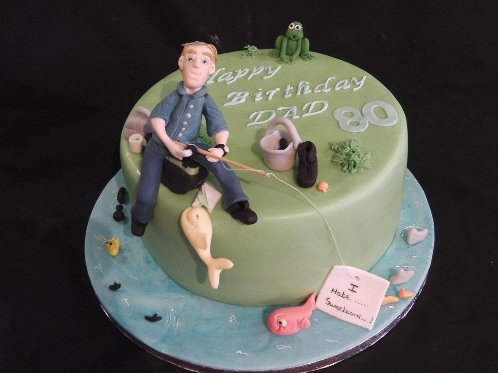 80th Fishing Themed Birthday Celebration Cake Mandy S