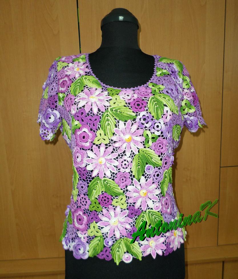 Ютуб вязание крючком ирландские кружева летние блузы 69