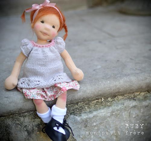 "Ruby- 11.5"" natural fiber art doll"