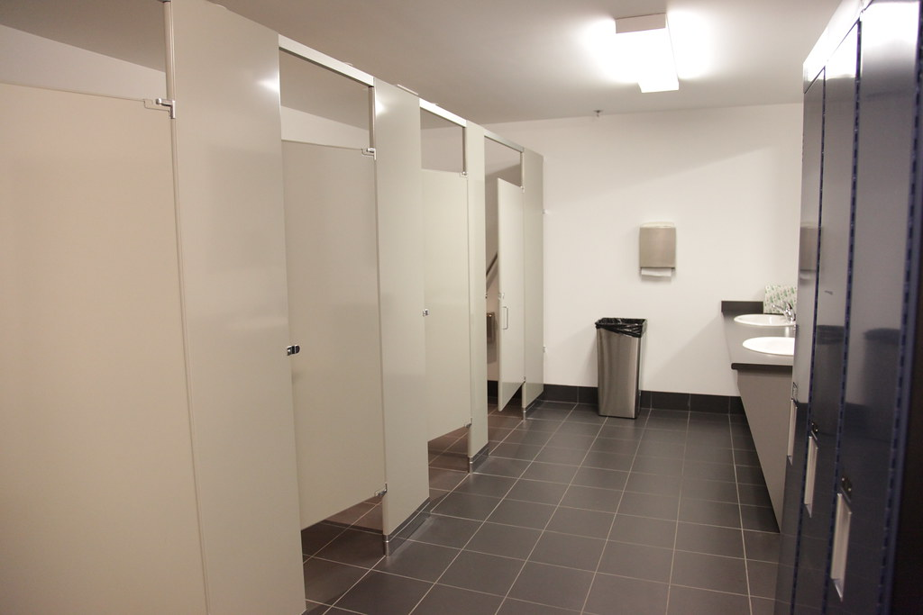 Gym and hangar bathroom there s a spacious just