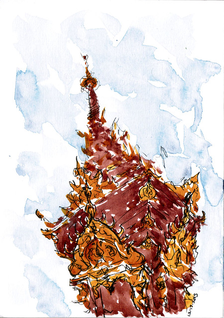 An ink and watercolor sketch of Wat Khuan Khama