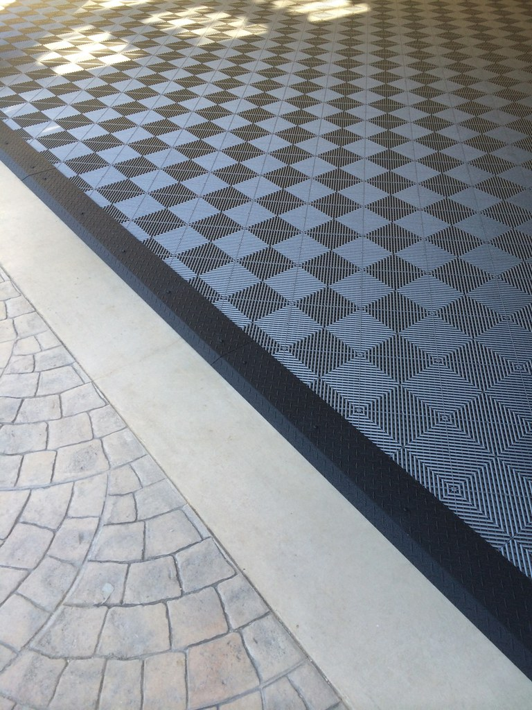 Garage Tile Flooring amp Black Diamond Plate Transition Stri