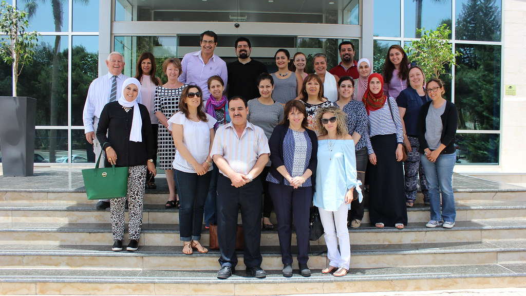 Professor Jeff Thompson and Dr Mary Hayden with participants in the MA unit taught recently at the Amman Baccalaureate School in Jordan