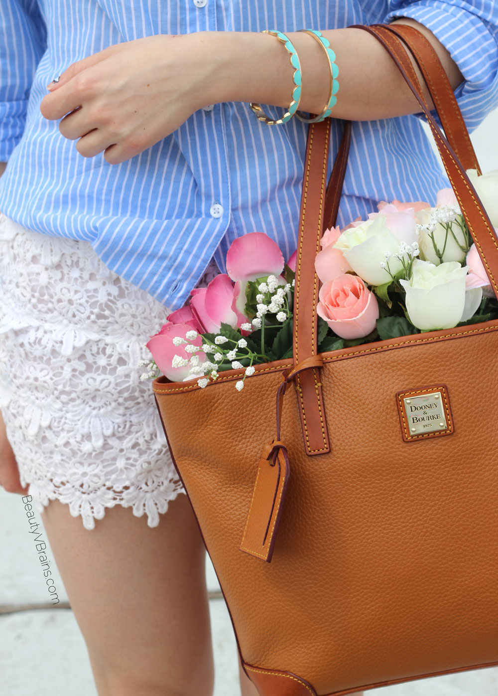 Brown leather Dooney shopper and scallop bracelet