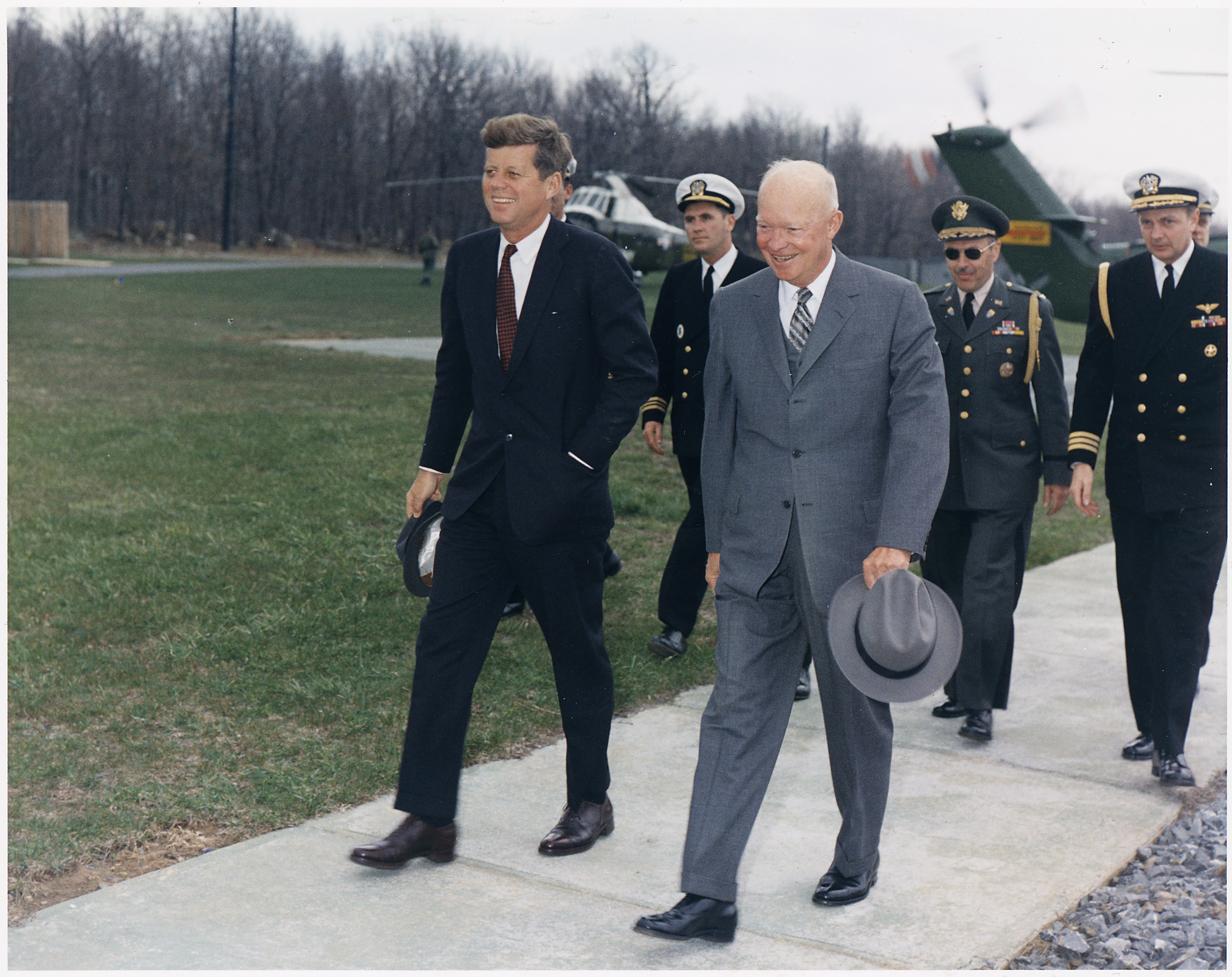 President John F. Kennedy and former President Dwight D. Eisenhower - Camp David, Maryland U.S.A. - 1960