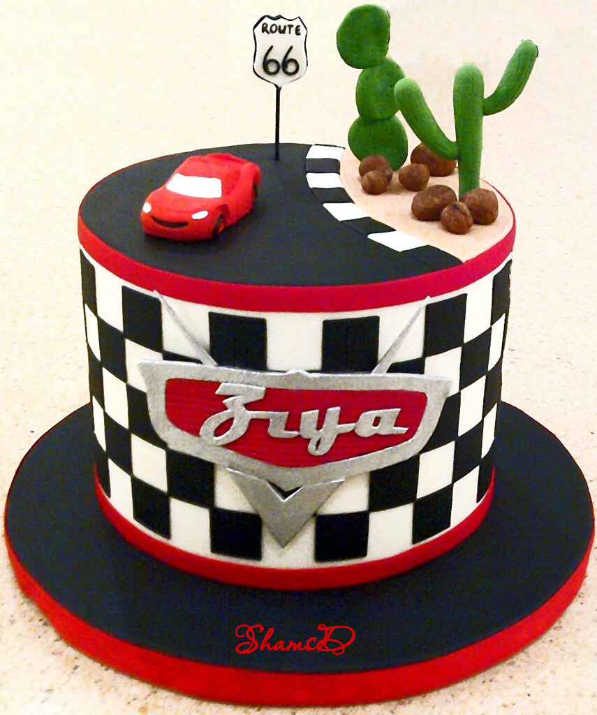 lightning mcqueen car cake  Car topper was not made by me b ...
