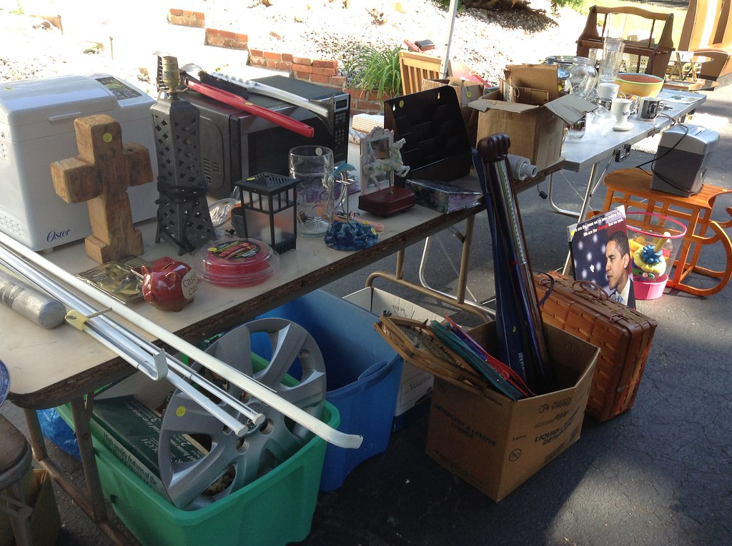 Picture of items at a yard sale
