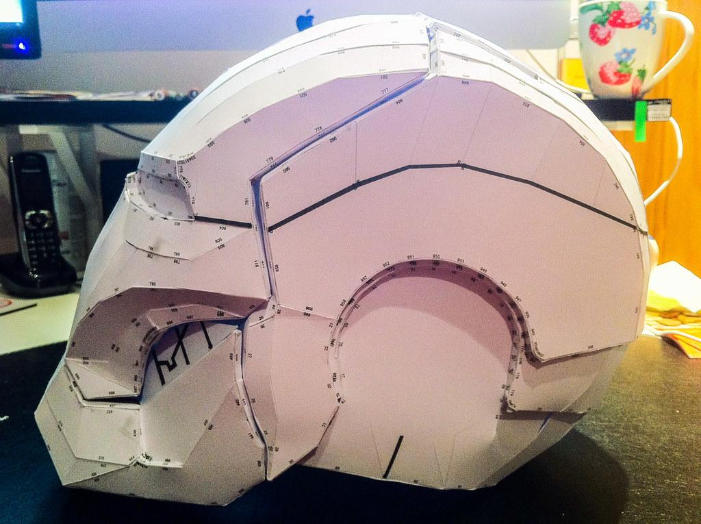Iron Man Pepakura Helmet | Fullsize Iron Man Mk7 helmet made ...