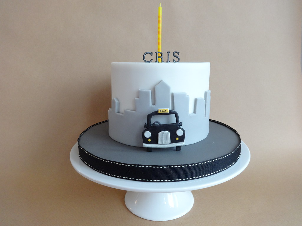Black Taxi Cake Topper