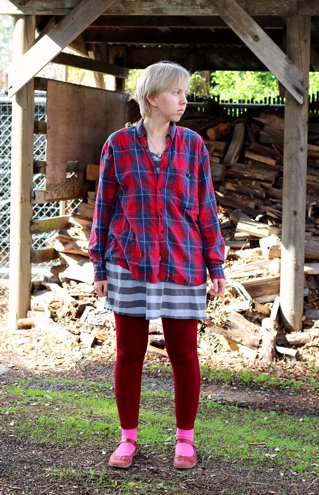 red plaid men's shirt, burgundy leggings
