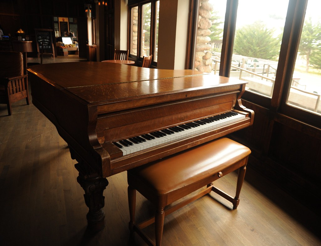 Vintage Grand Piano Brown Wood Bench Wood Floor Asilom