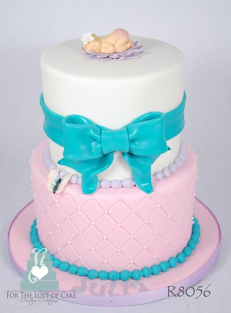 R8056-pink-aqua-baby-shower-cake-toronto -oakville