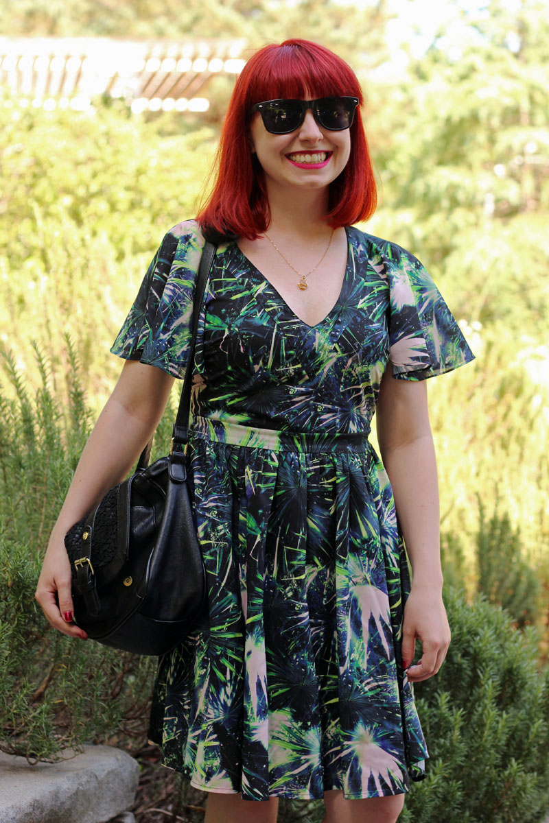 Floaty Sleeve Green Blue Leaf Print Dress Black Wayfarers